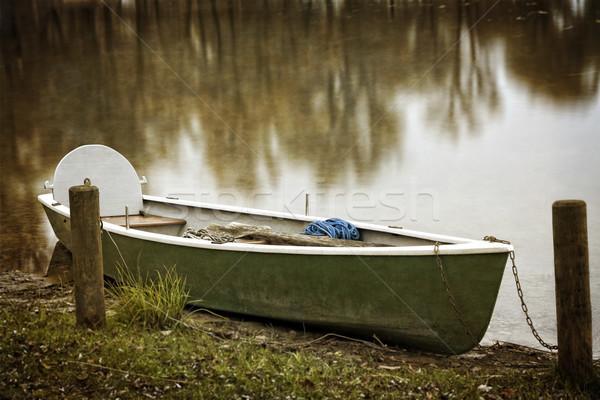 Lege roeiboot meer najaar groene reizen Stockfoto © haraldmuc