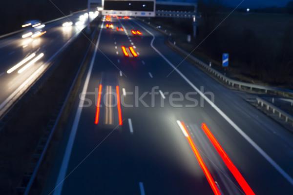 éjszaka forgalom autópálya út utca toll Stock fotó © haraldmuc