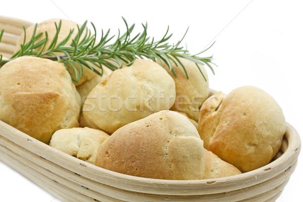 Olajbogyó kenyér tekercsek kenyeres kosár fehér étel Stock fotó © haraldmuc