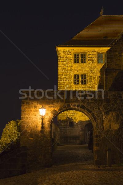 Walkway to Quedlinburg castle illuminated at night, Germany Stock photo © haraldmuc