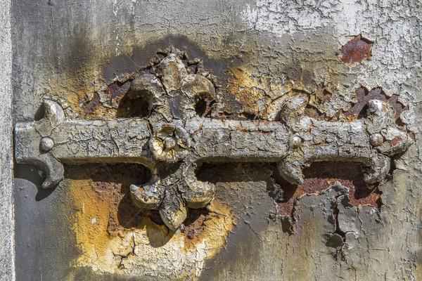 Stock photo: Rusted door fitting, closeup