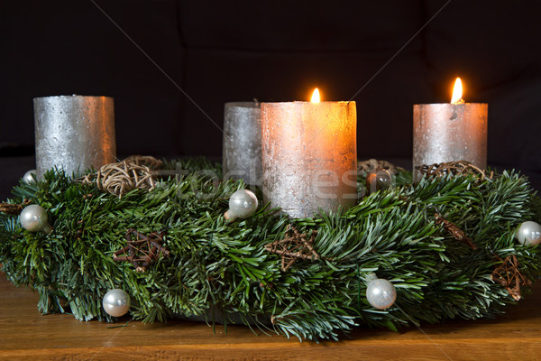 Advento coroa dois ardente velas Foto stock © haraldmuc