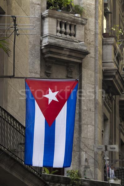 Cuba vlag Havanna stad Rood textiel Stockfoto © haraldmuc