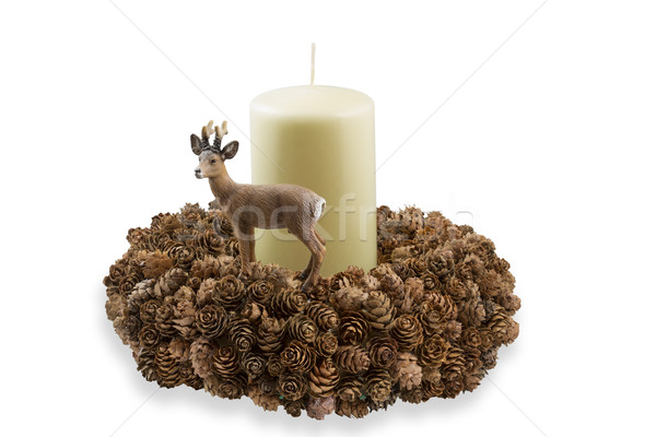 Handmade wreath with larch cones and candle Stock photo © haraldmuc