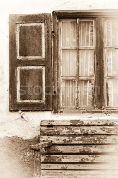 Edad ventana sepia casa edificio Foto stock © haraldmuc