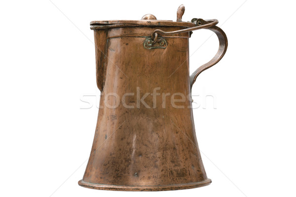 Used copper jug on white background Stock photo © haraldmuc
