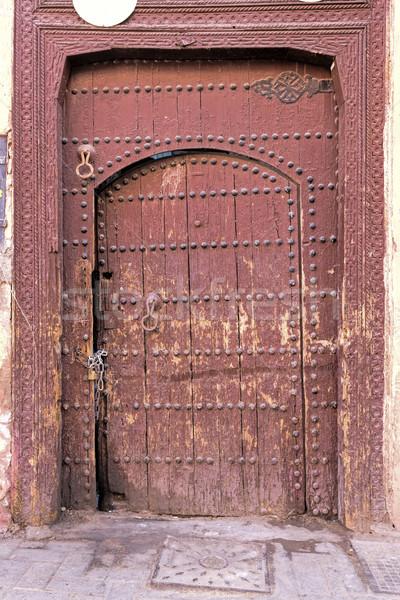 старые выветрившийся двери Марокко дома древесины Сток-фото © haraldmuc