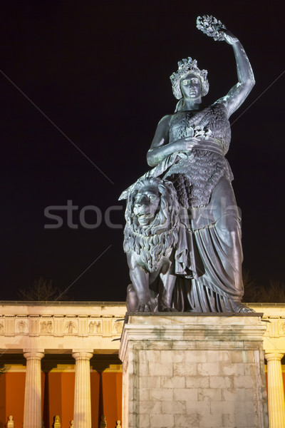 Stock photo: Historic Bavaria statue in Munich at night