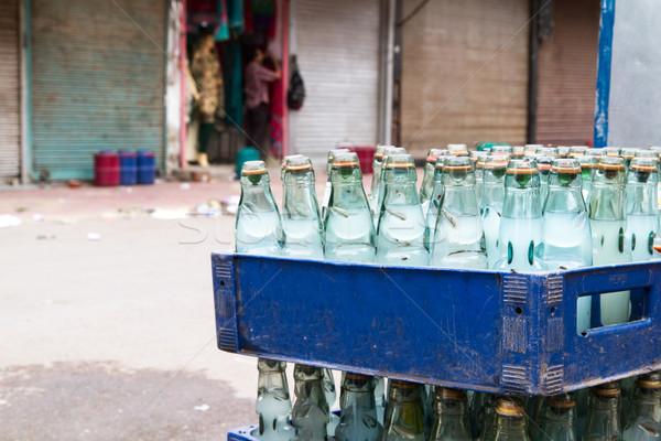 üvegek víz vásár Delhi India város Stock fotó © haraldmuc
