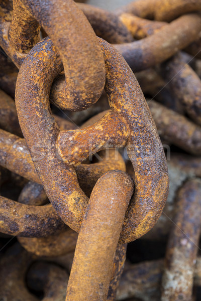 Rusty old iron chains, closeup Stock photo © haraldmuc