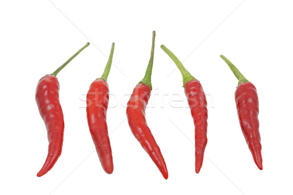 Group of red hot chilies isolated on white background Stock photo © haraldmuc