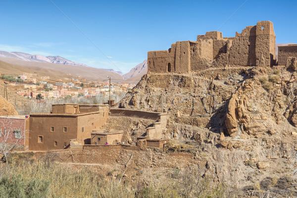 古代 建物 モロッコ 砂漠 青 アフリカ ストックフォト © haraldmuc