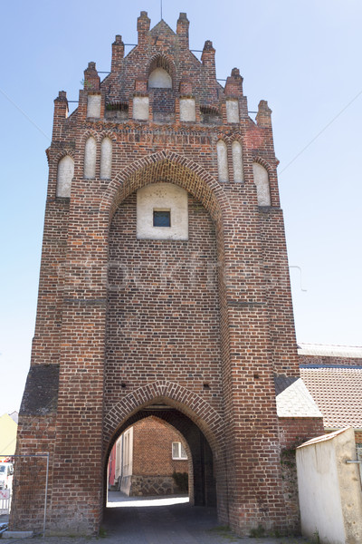 Historisch stad poort Duitsland muur gebouwen Stockfoto © haraldmuc