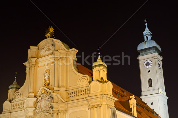 'Heilig-Geist-Kirche' church in Munich, Germany, at night Stock photo © haraldmuc