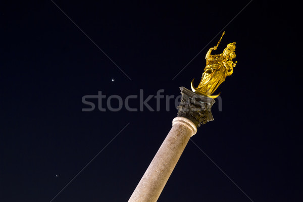 Stock photo: Sculpture of Saint Mary in Munich, Germany, at night