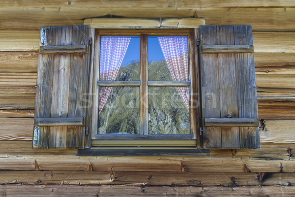Window of a typical mountain hut in Italy Stock photo © haraldmuc