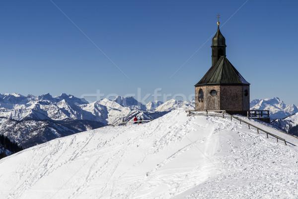 Küçük kilise üst dağ Almanya gökyüzü güneş Stok fotoğraf © haraldmuc