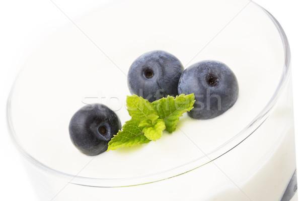 Myrtille mascarpone dessert verre alimentaire fruits Photo stock © haraldmuc