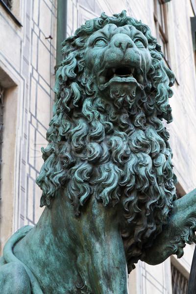 Bronce león estatua Munich viaje arquitectura Foto stock © haraldmuc