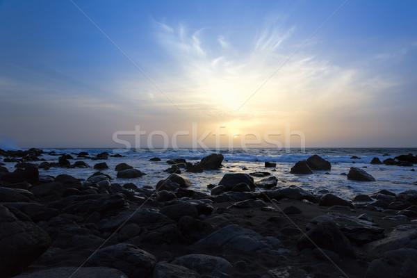 Zonsondergang strand eiland Spanje hemel licht Stockfoto © haraldmuc