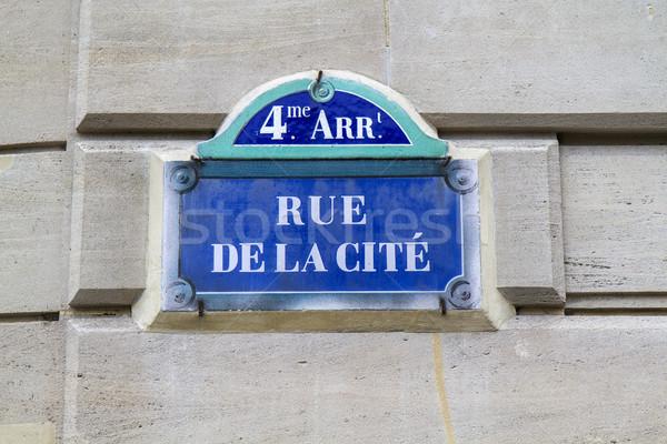 Nostalgisch Blauw teken post Parijs Frankrijk Stockfoto © haraldmuc