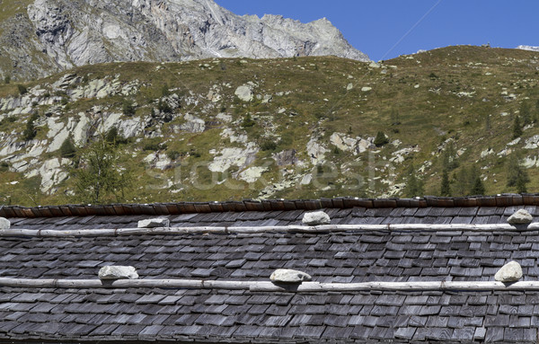 Weathered shingle roof in the italian alps Stock photo © haraldmuc