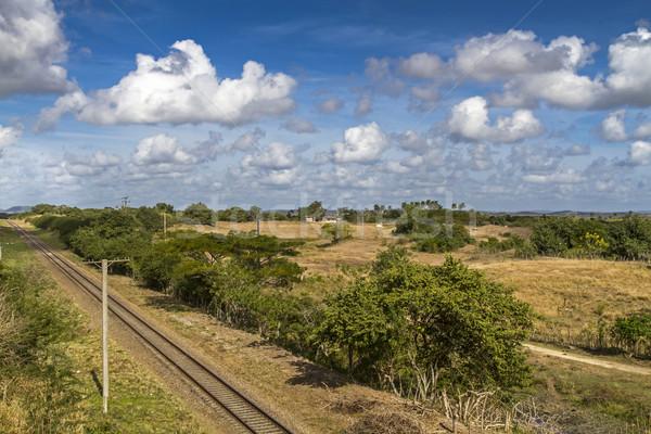 железная дорога трек острове Куба пейзаж синий Сток-фото © haraldmuc