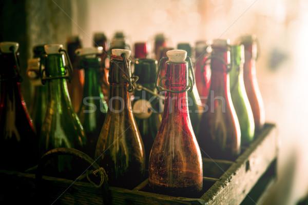 Old beer bottles in wooden cases Stock photo © haraldmuc
