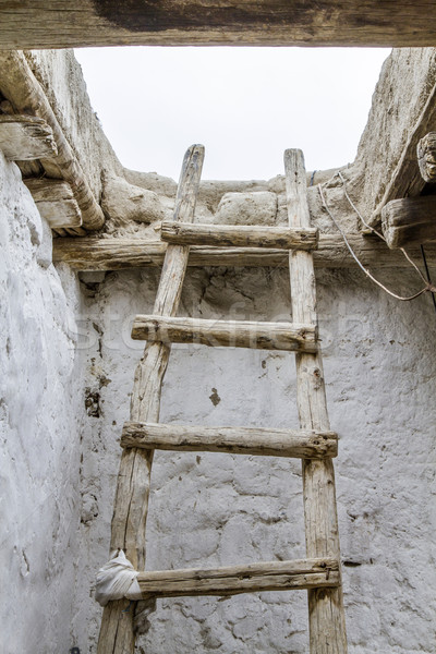 Old wooden ladder, seen in Ladakh, India Stock photo © haraldmuc