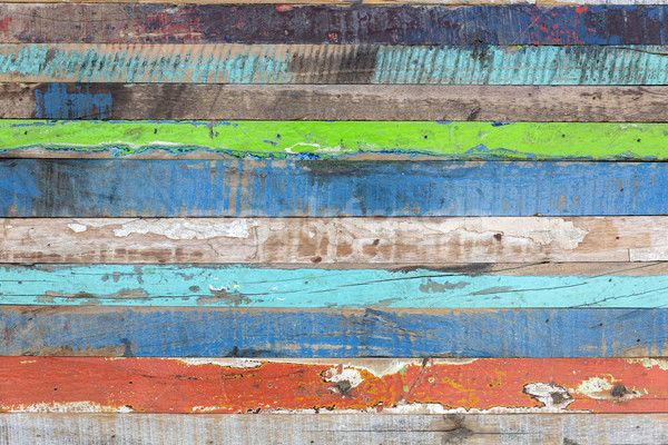 Stock photo: Painted weathered wood as background