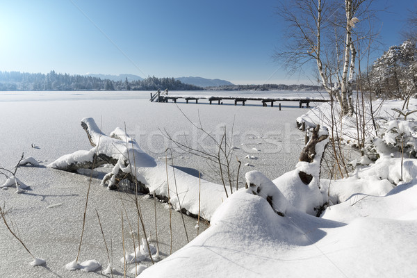 Lake Kirchsee in Bavaria, Germany, in winter Stock photo © haraldmuc