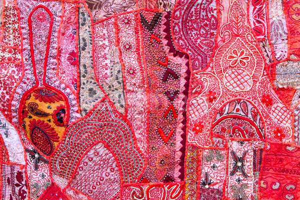 El yapımı yama işi Hindistan el Asya Stok fotoğraf © haraldmuc