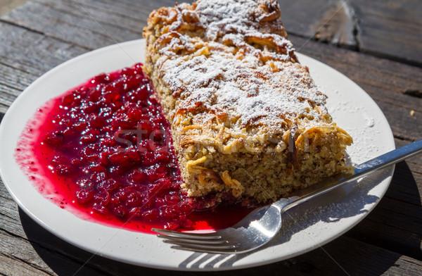 A fresh piece of buckwheat cake on a white plate Stock photo © haraldmuc