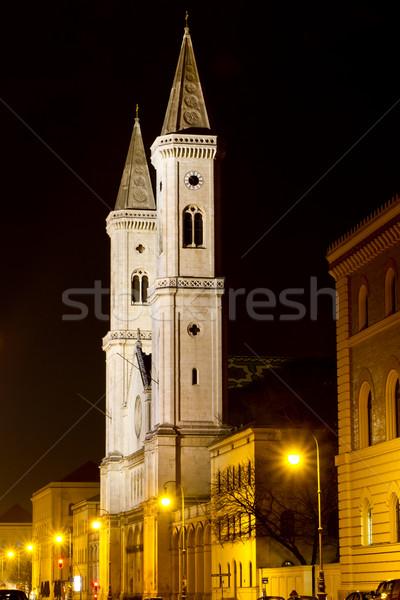 Famoso iglesia Munich noche negro arquitectura Foto stock © haraldmuc