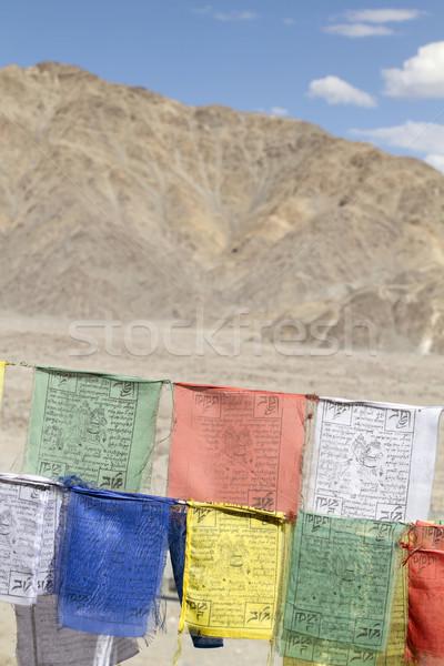 Prière drapeaux fête vert vent Asie Photo stock © haraldmuc