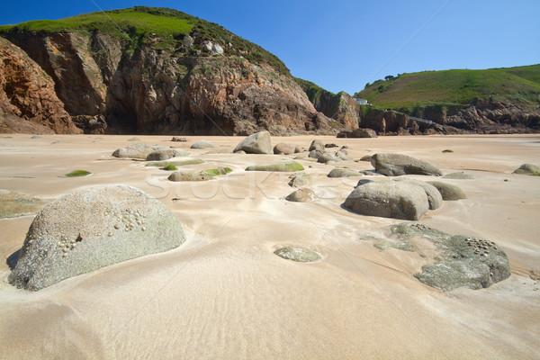 Rotsformatie strand hemel voorjaar zee zomer Stockfoto © haraldmuc