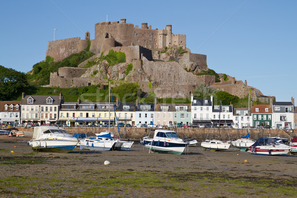 The small town of Gorey with Mont Orgueil Castle, Jersey, UK Stock photo © haraldmuc