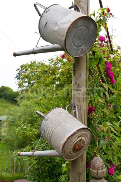 Zwei Bewässerung hängen Holz Pol Blumen Stock foto © haraldmuc