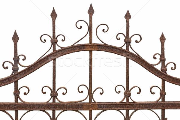 Rusted wrought iron fence on white background Stock photo © haraldmuc