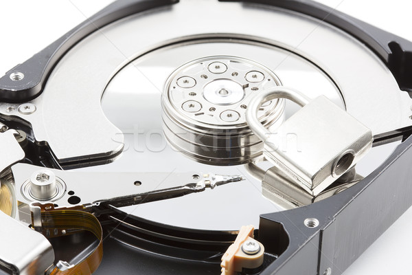 Stock photo: Computer harddisk drive closeup with locker