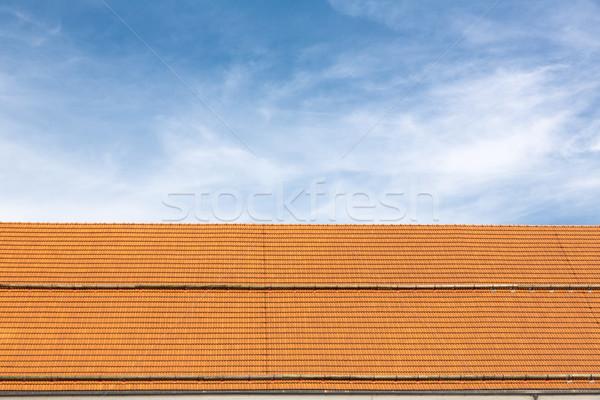 Hagyományos tető új csempék égbolt otthon Stock fotó © haraldmuc