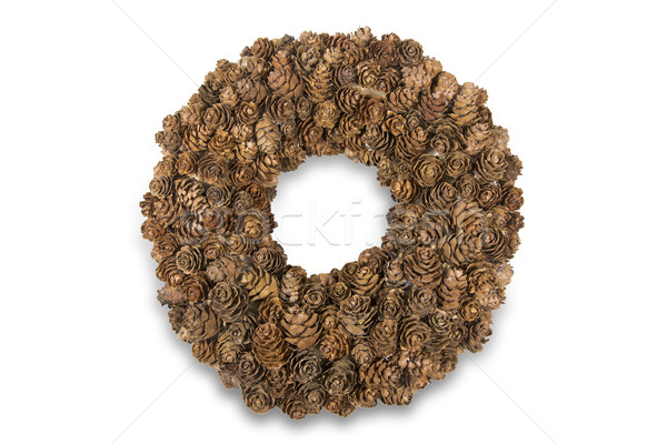 Handmade wreath with larch cones, isolated Stock photo © haraldmuc