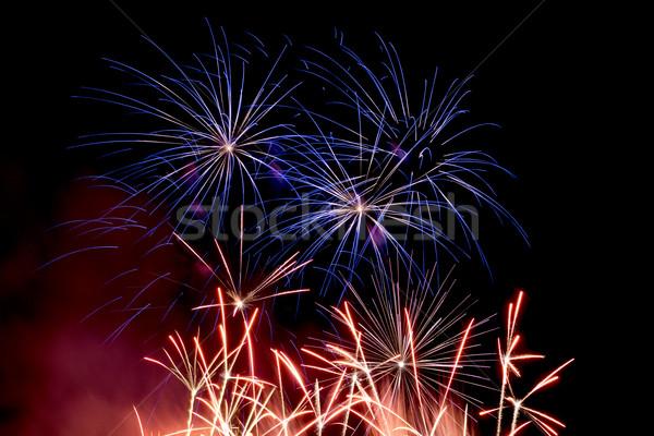 Stock photo: Fireworks on a night sky