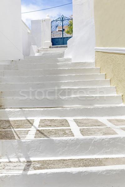 Charakteristisch griechisch Gasse weiß gemalt Schritte Stock foto © haraldmuc