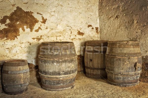 Eski şarap bodrum ahşap depolamak bağbozumu Stok fotoğraf © haraldmuc