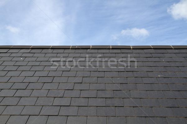 Stock photo: Slate roof against blue sky