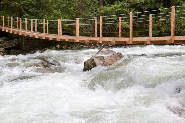 Stock photo: Wooden bridge over wild waters