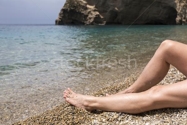 Relaxing on Paradise Beach on Corfu island, Greece stock