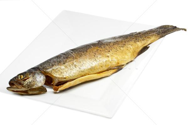 Ahumado trucha placa peces cena frescos Foto stock © haraldmuc