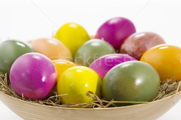 Húsvéti tojások fából készült tál sekély mélységélesség húsvét Stock fotó © haraldmuc